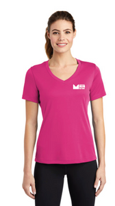 Ladies V-neck Tee in Pink - Price Includes Tax