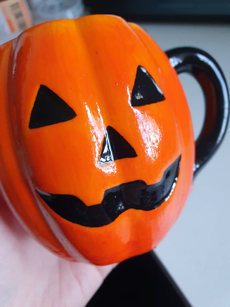 SECONDS - Halloween ceramic orange pumpkin hand painted mug