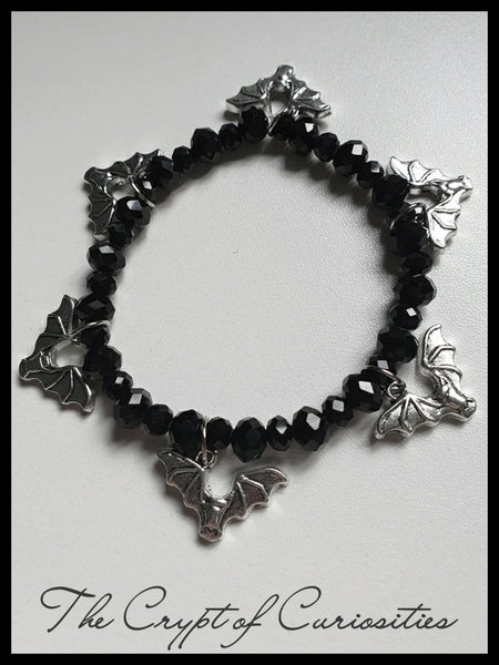 Gothic Halloween black glass crystal bat bracelet
