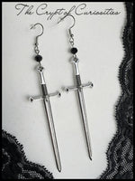 Gothic antique silver sword and glass crystal earrings
