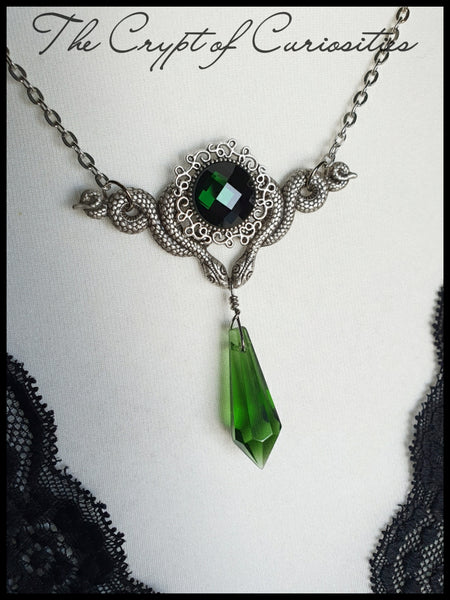 Slytherin house inspired glass crystal snake necklace. NEW - Choose green, red or black.