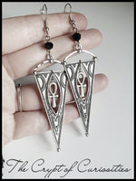 Gothic ankh and triangle tribal style dangle earrings.