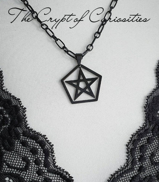 Gothic stainless steel pentacle necklace.
