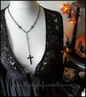 ~Without light~ Gothic black cross rosary necklace.