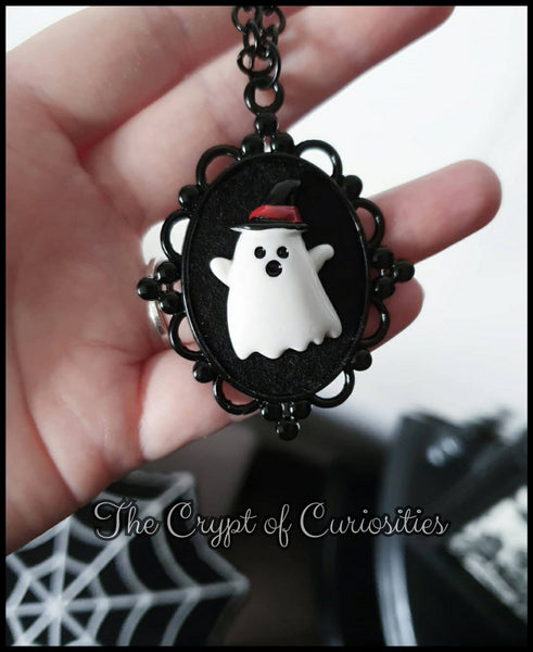 Spooky Halloween 3D cute ghost cameo necklace.