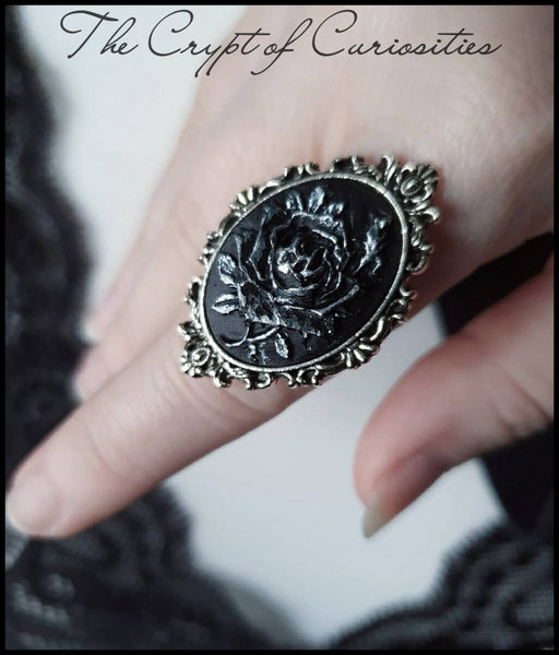 Gothic black and silver elegant filigree rose cameo ring.
