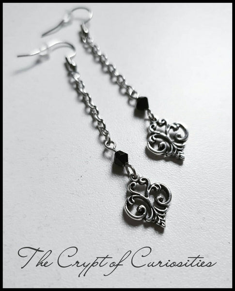 Elegant Gothic filigree glass crystal drop earrings.