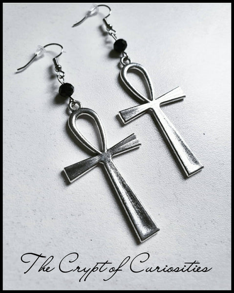 Black glass crystal ankh earrings