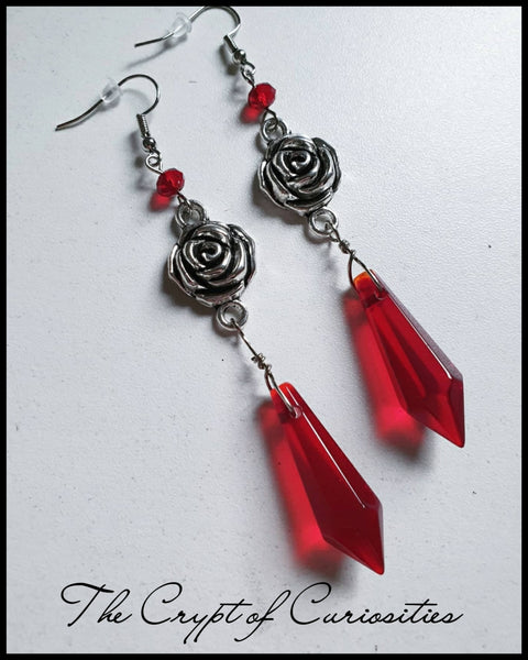 Elegant Gothic Victorian red rose glass crystal earrings.