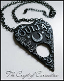 Gothic black & silver Ouija planchette necklace