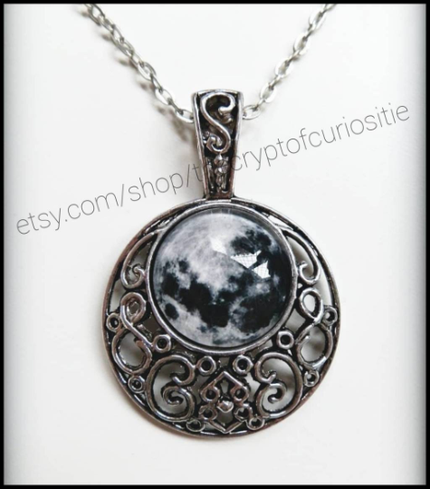 Night Enchantress - Antique silver filigree full moon cameo necklace.