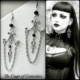 Gothic ankh dangle crystal earrings.