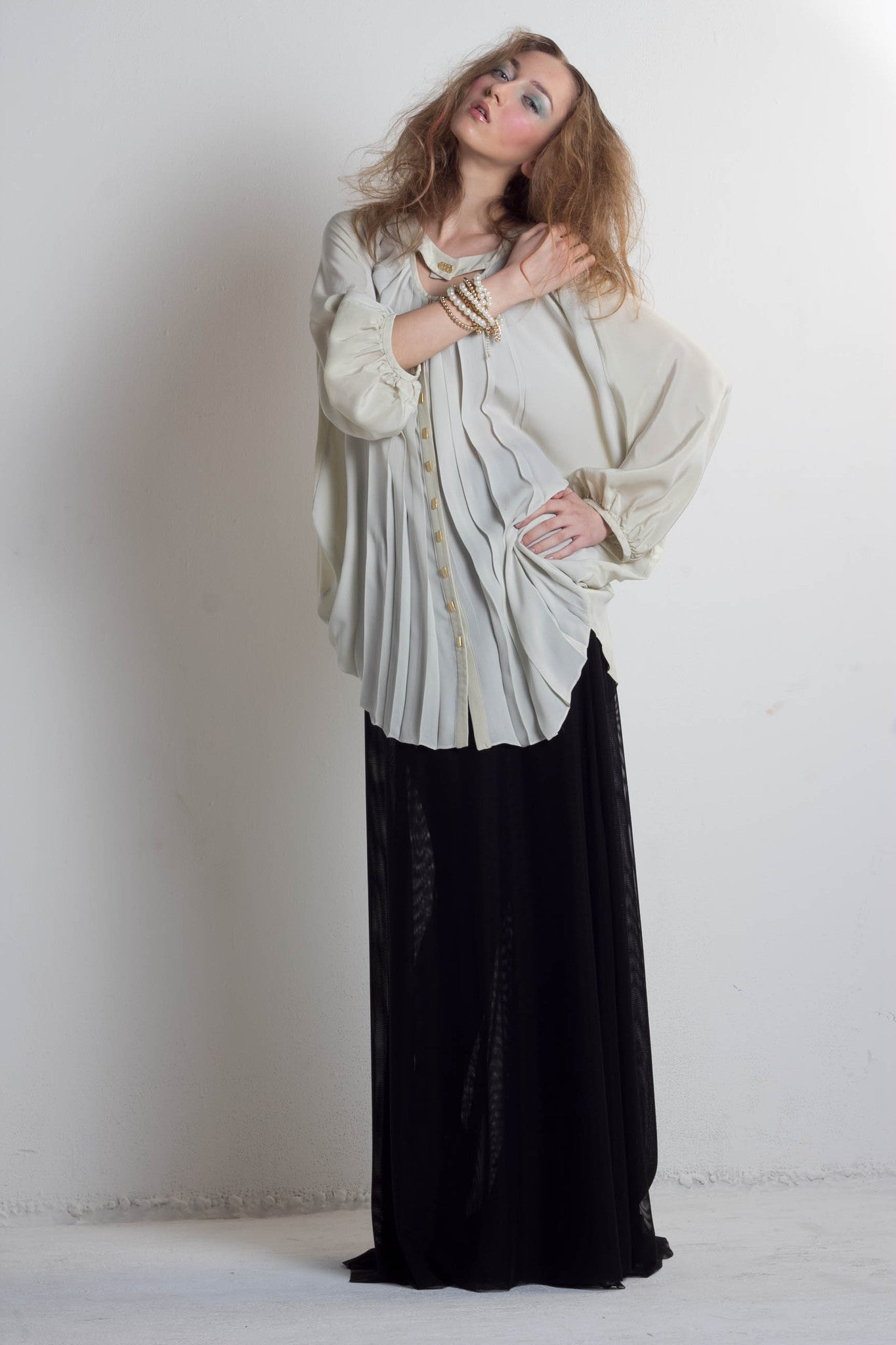 Off white, hand pleated, draped, silk, pretty, edgy flowing blouse