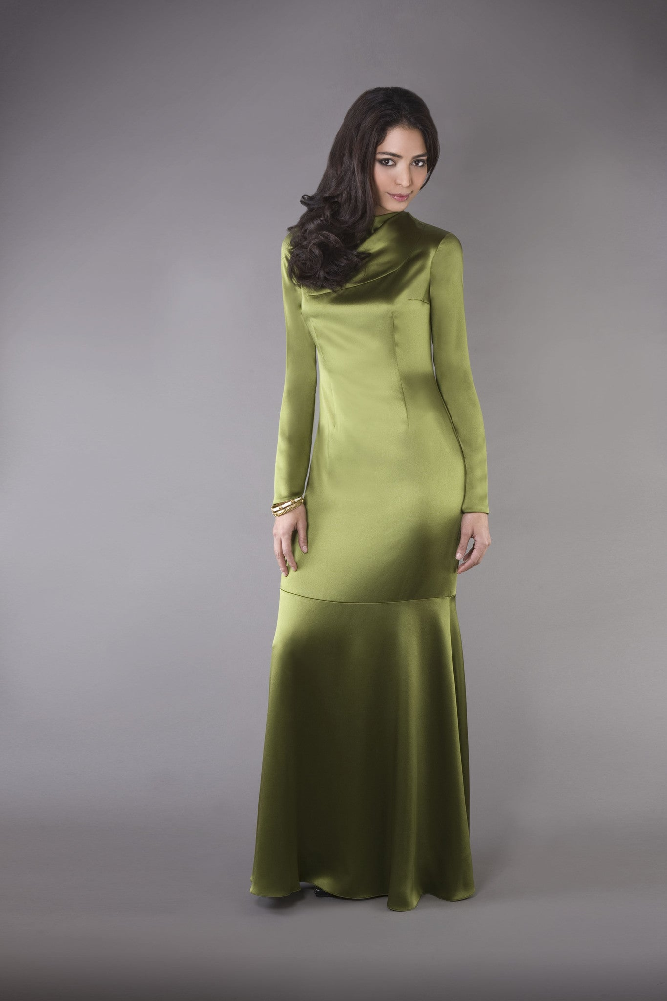 Elegant, long-sleeved modest hijab friendly olive green satin column gown with pleated draped neckline detailing.