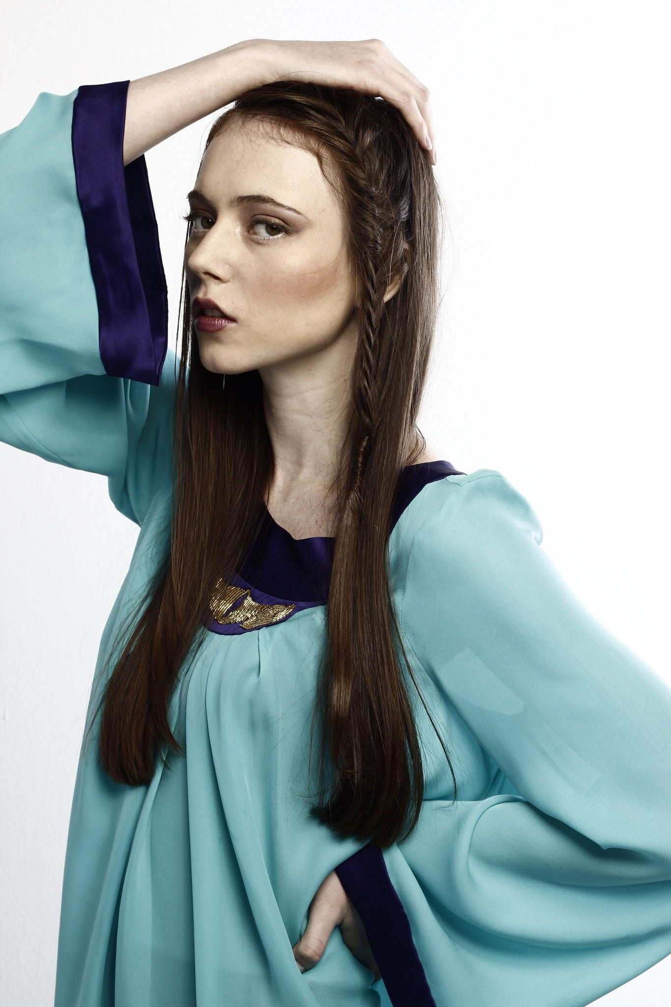 Silk blouse, color-blocked, long, blue, pleated, modest and elegant