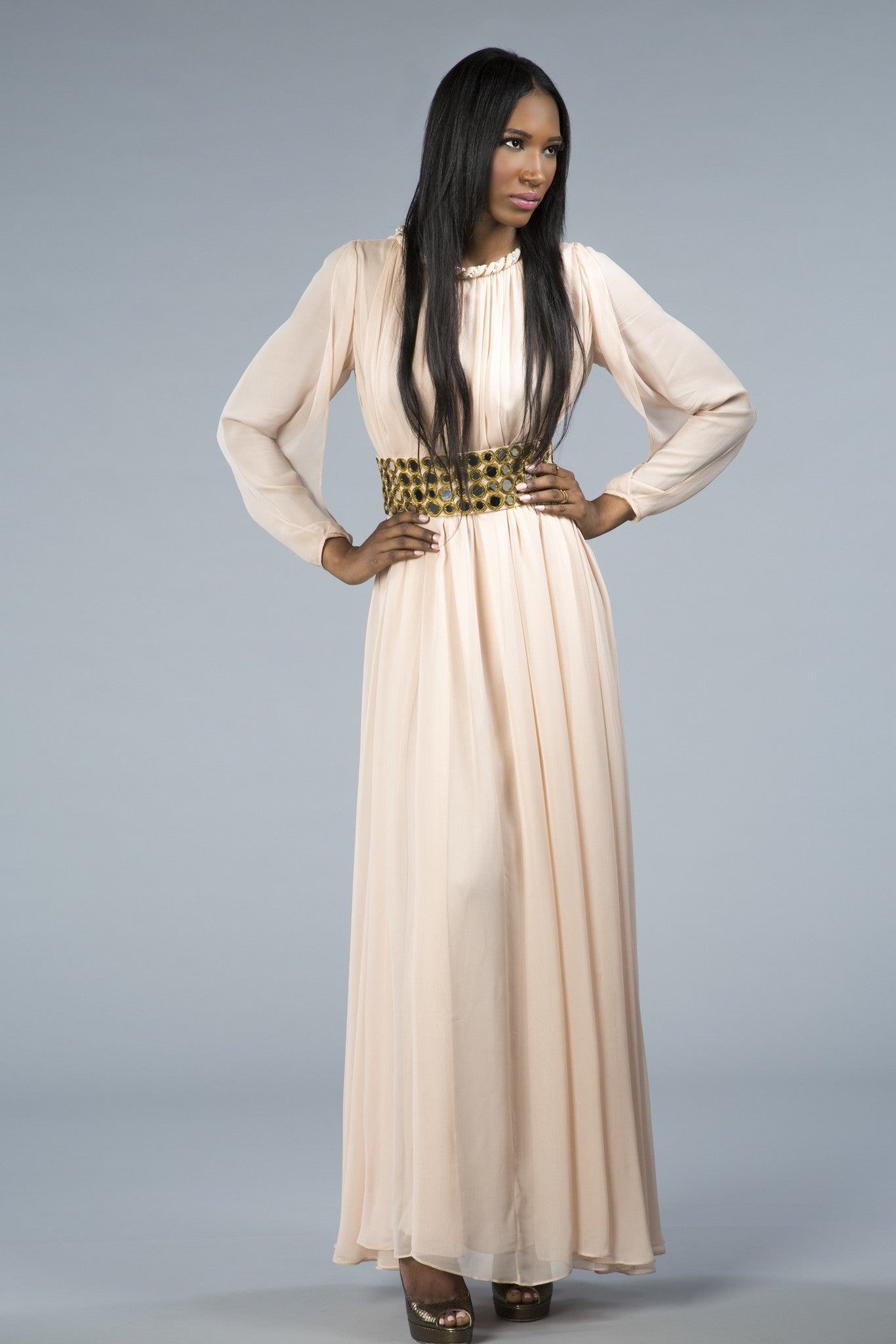 Light flowing gown, slit sleeves, embellished neck and belt with glass