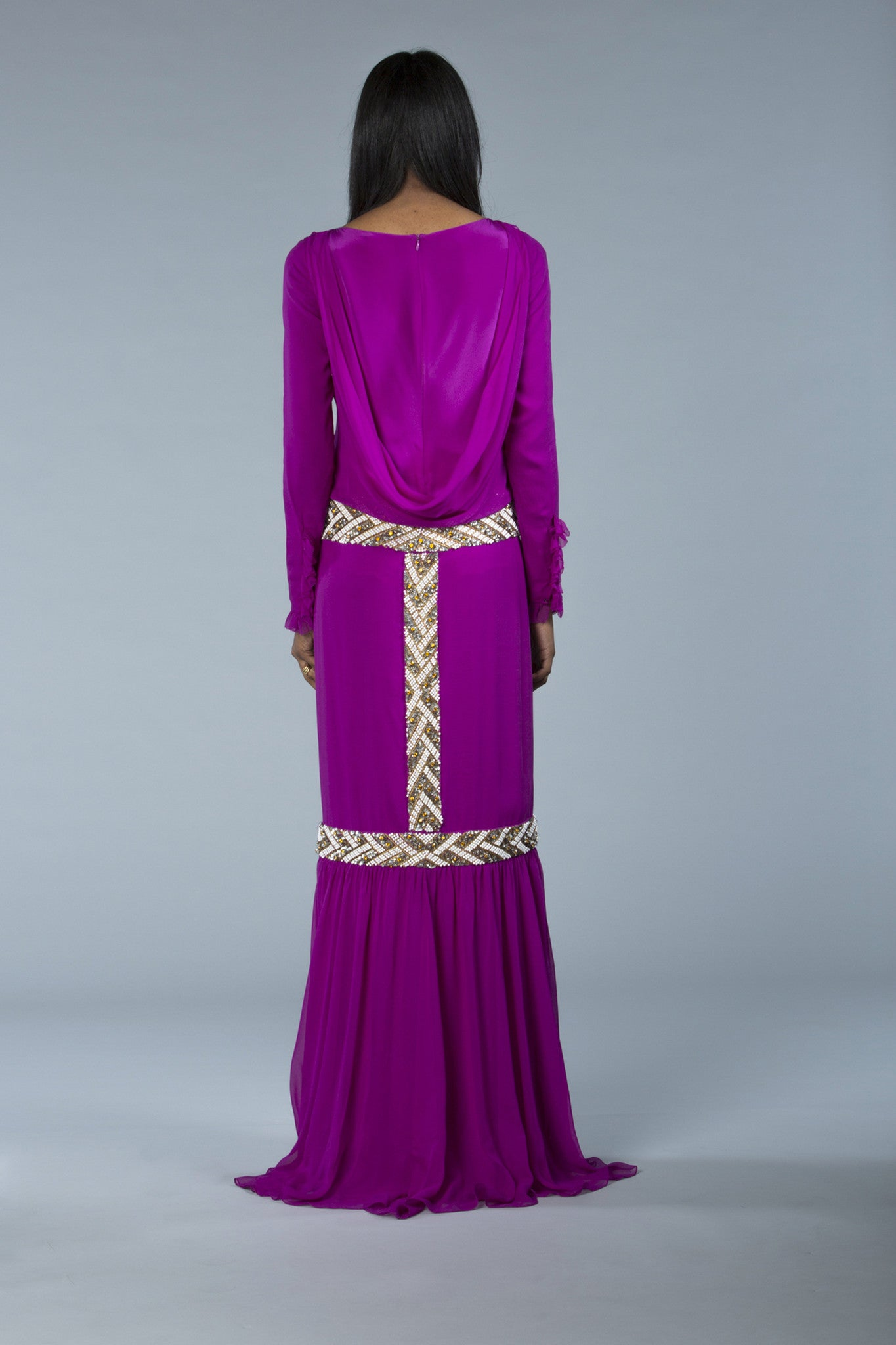 hand-embroidered, silk chiffon, draped (the cowl back), slightly dropped waist column gown