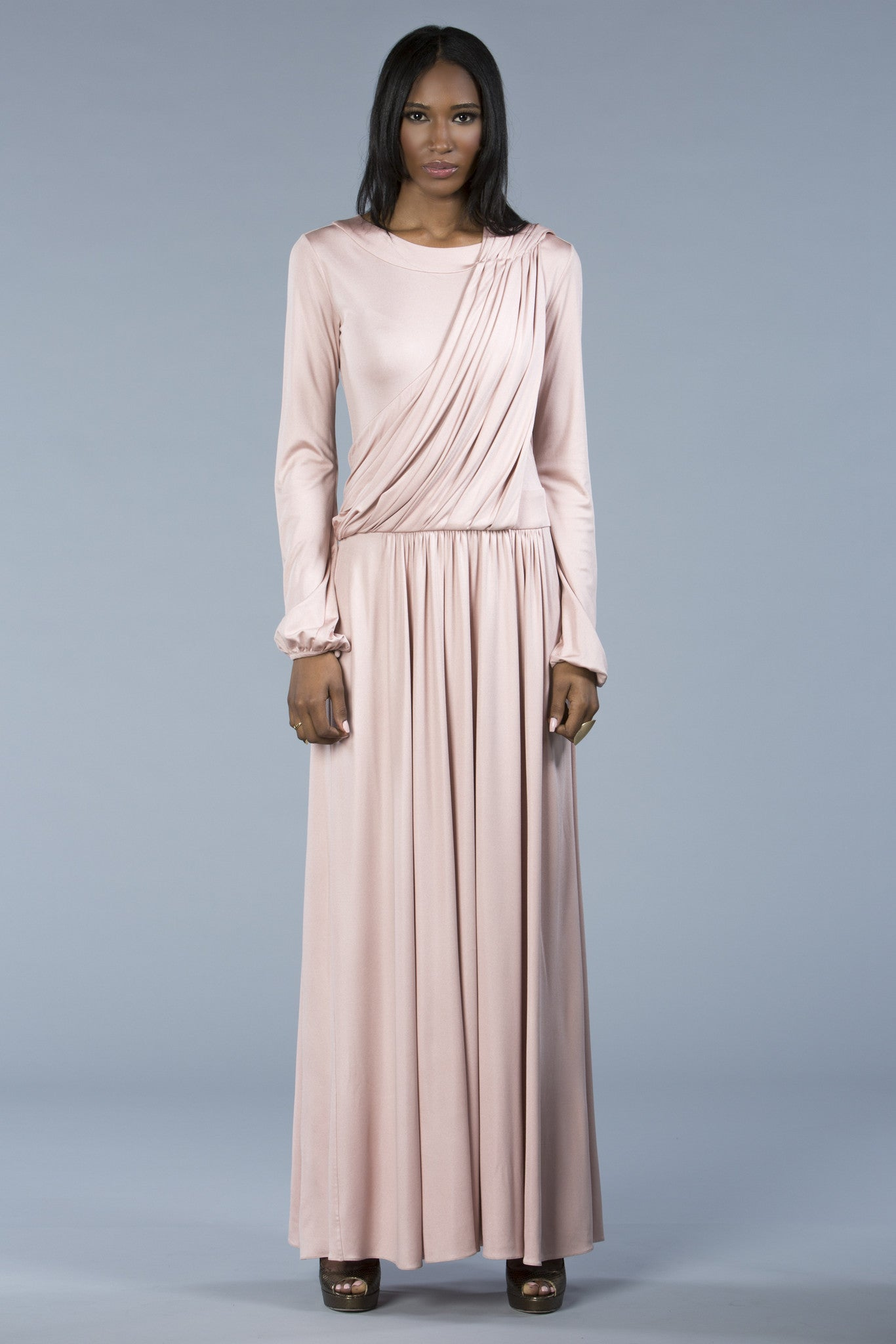 Long draped silk dress, elegant, versatile. Hijab option. Modest