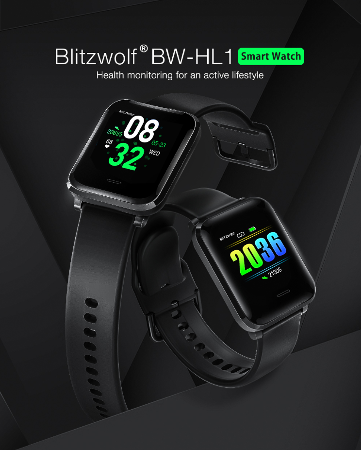 BlitzWolf® Heart Rate Blood Pressure O2 Sleep Tracking Sports Smart Watch