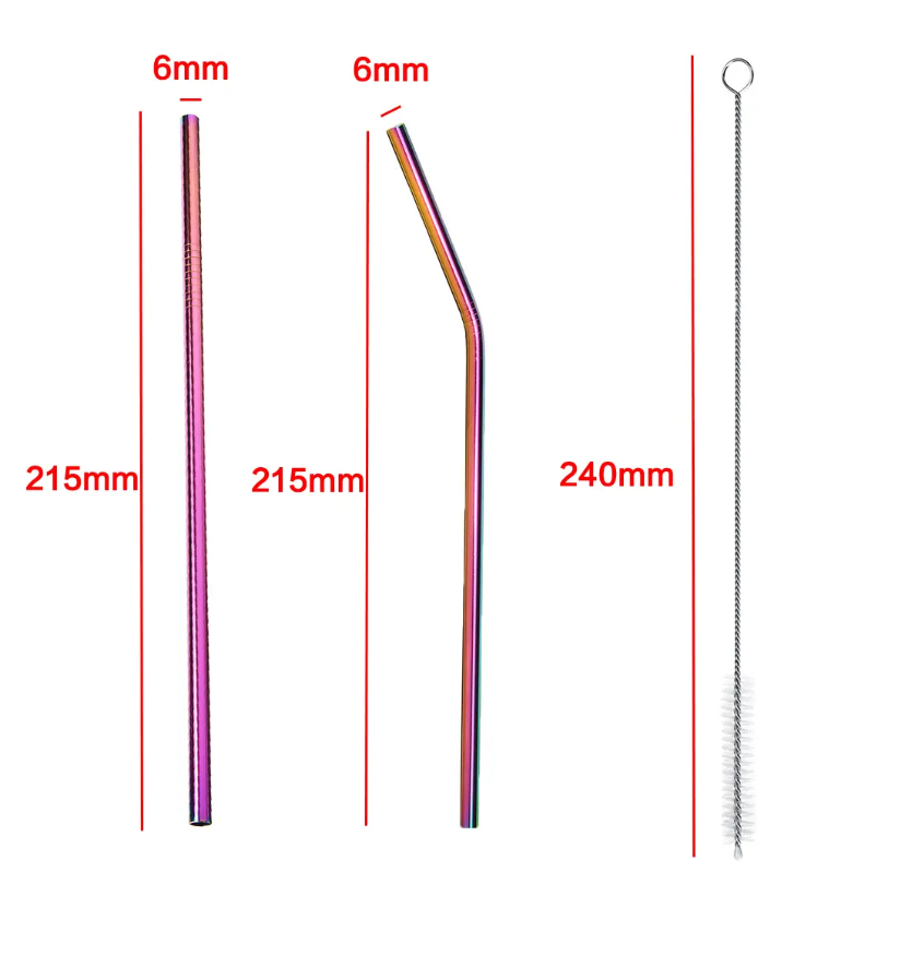 7PCS Premium Stainless Steel Metal Drinking Straw Reusable Straws Set With Cleaner Brushes - Curved