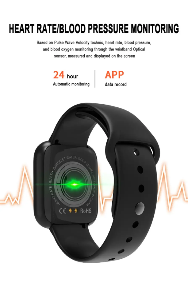 7 Mountains® Continuous Heart Rate O2 Monitor Watch Face WhatsApp Caller ID Reminder Full Metal Body Smart Watch - Black