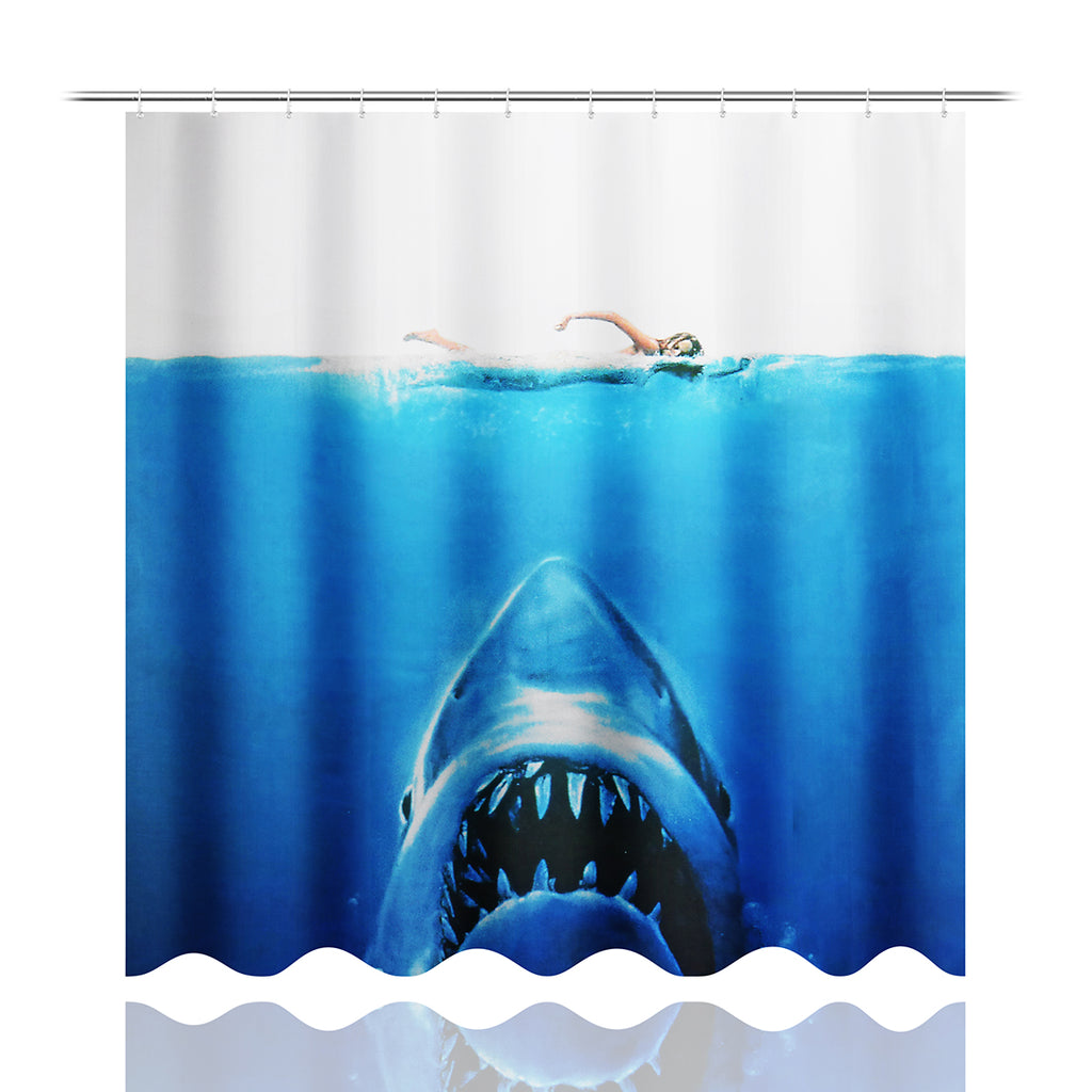 Deep Sea Shark 3D Printing Bathroom Shower Curtain Toilet Cover Mat Non-Slip Rug Sets