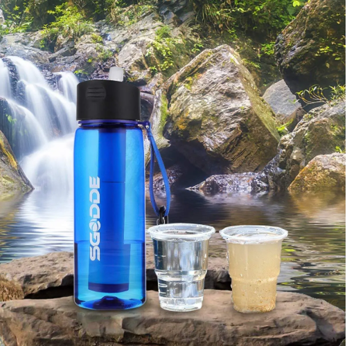 SGODDE 22.2 OZ Survival Water Bottle with Filter Sports Outdoor Portable Travel BPA Free