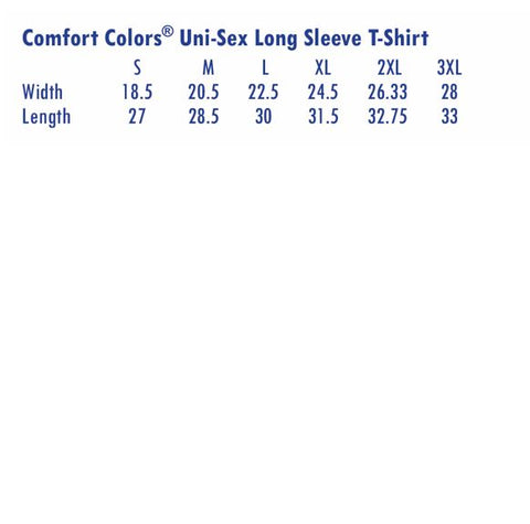 Comfort Colors Long Sleeve T-shirt Size Chart