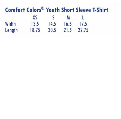 Size Chart - Youth Short Sleeve T-shirt