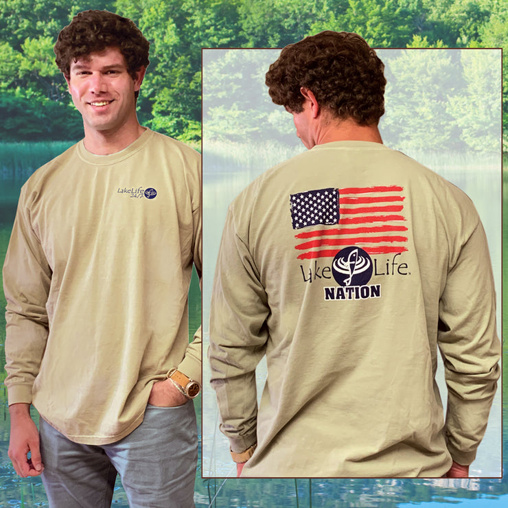 LakeLife 24/7® Flag T-Shirt - Long Sleeve