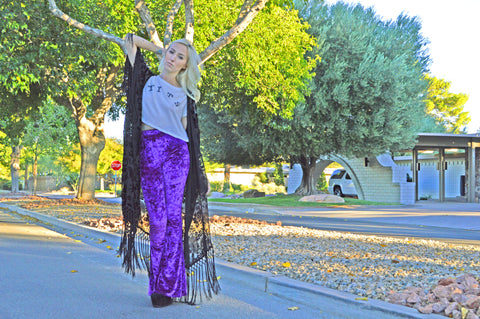 PURPLE HAZE VELVET BELL BOTTOMS