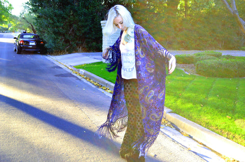 PERIWINKLE PAISLEY BURN-OUT VELVET DUSTER