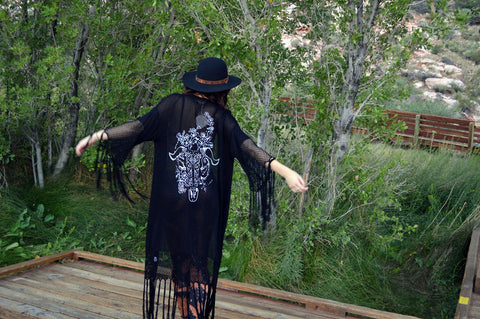 BLACK FRINGE DUSTER WITH GOAT SKULL PRINT