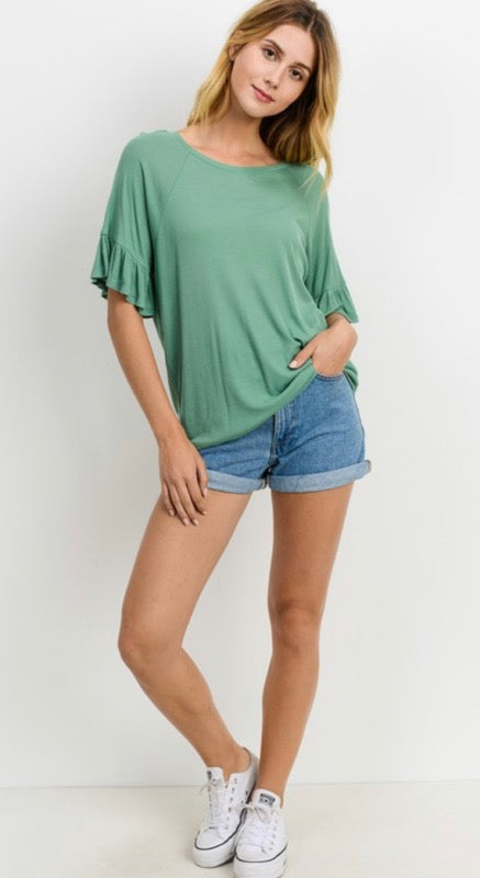Ribbed & Ruffled Tee