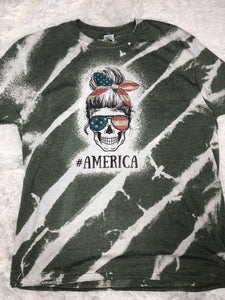 Army Green Striped #AMERICA Skull