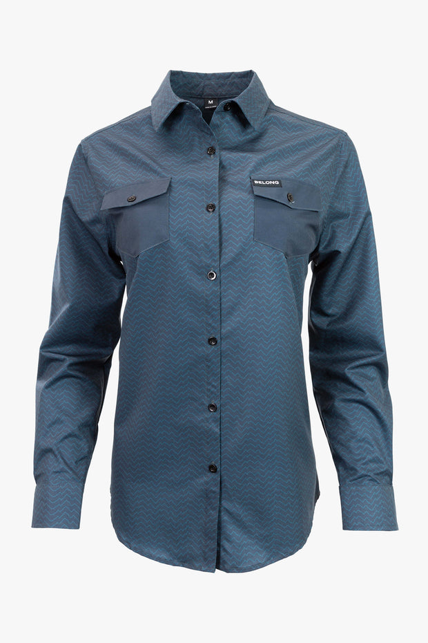 Women's Terrain Stretch Button Down (Blue)