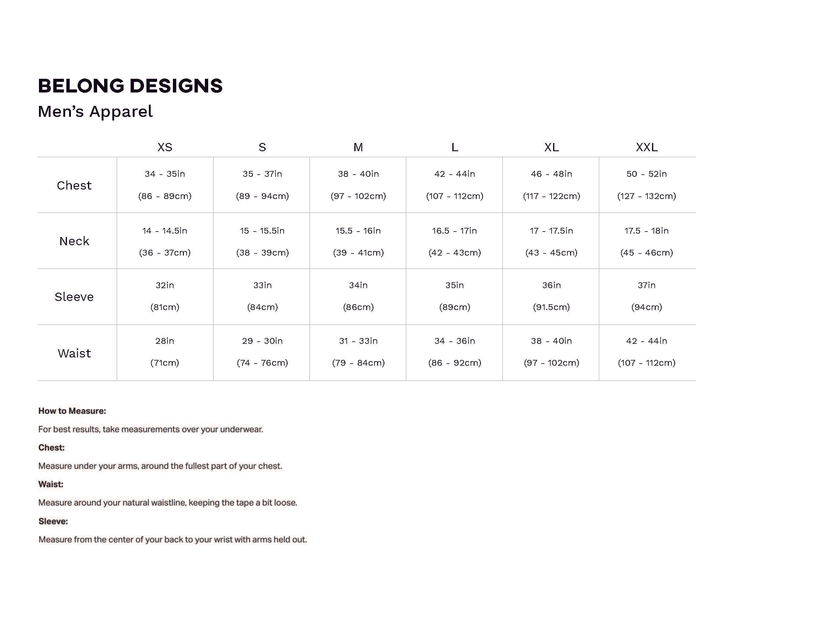 Belong Designs Sizing Chart