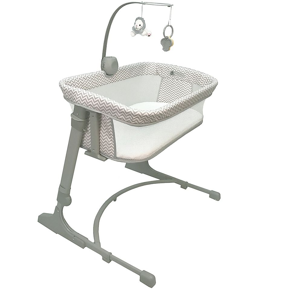 Co-Sleeper Versatile Bassinet In Chevron Grey/Cream