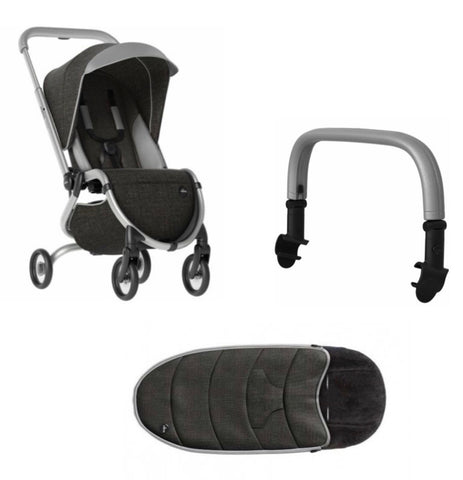 Zigi Stroller + Footmuff + Safety Bar- Charcoal