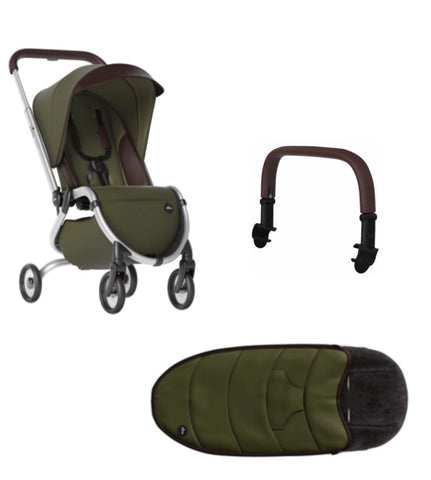 Zigi Stroller + Footmuff + Safety Bar- Olive