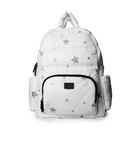 BK718 Diaper Bag - White with Stars (New Open Box)