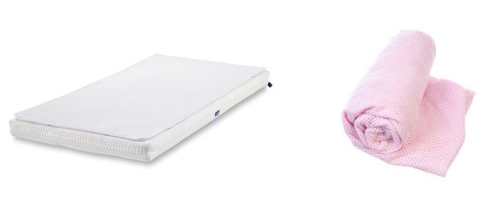 Essential Mattress + 2 Protectors + Pink Fitted Sheet