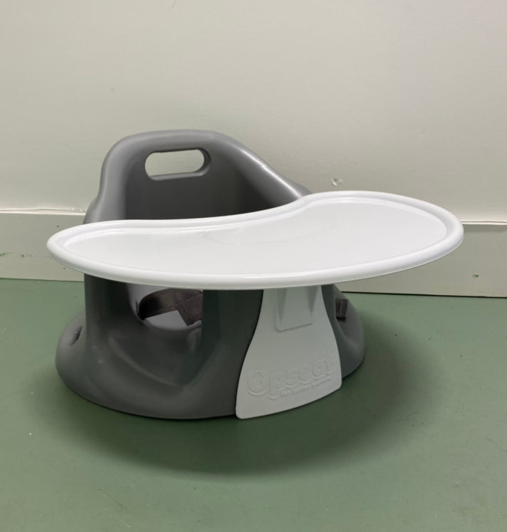 Baby Floor Chair and Booster Seat with Tray- Grey