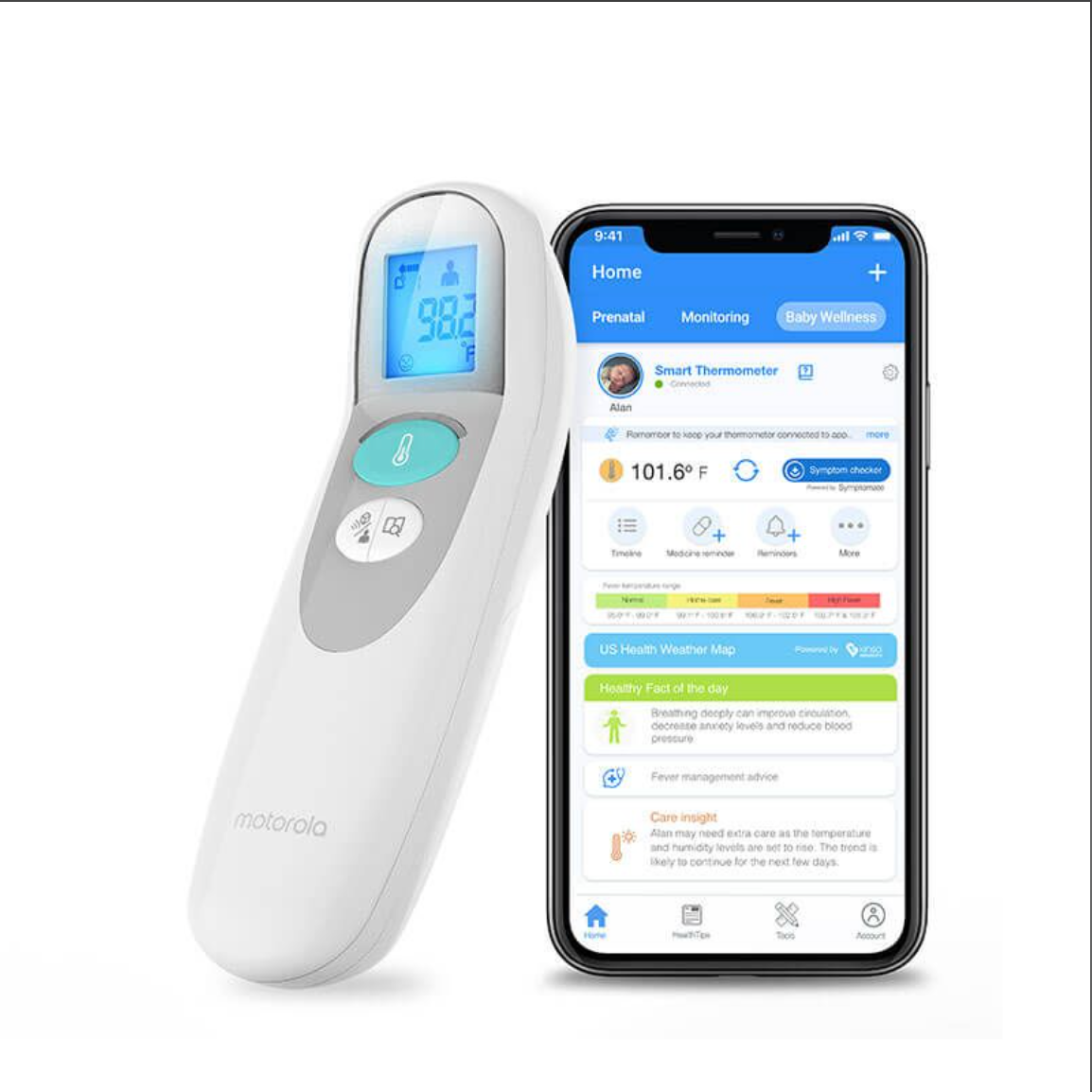 3-in-1 Smart Non-Contact Baby Thermometer - White