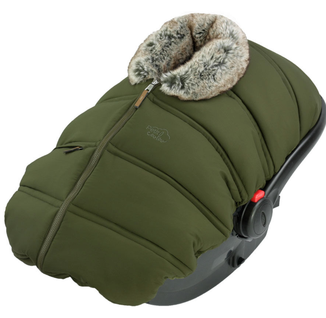 Winter Baby Car Seat Cover - Khaki Wolf