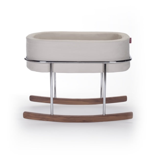 Rockwell Bassinet- Stone/Chrome/Walnut