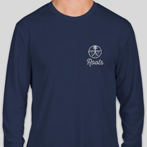 "Long Sleeve Roots ""Running"" Dri Fit Shirt - navy & black"