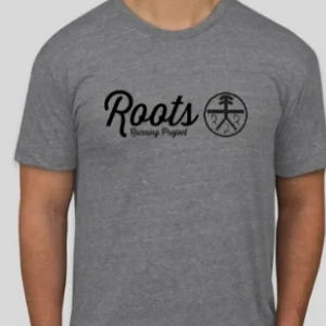 Classic Roots Tee (unisex and women's cuts) - oatmeal and gray.