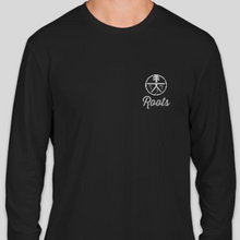 "Load image into Gallery viewer, Long Sleeve Roots ""Running"" Dri Fit Shirt - navy & black"