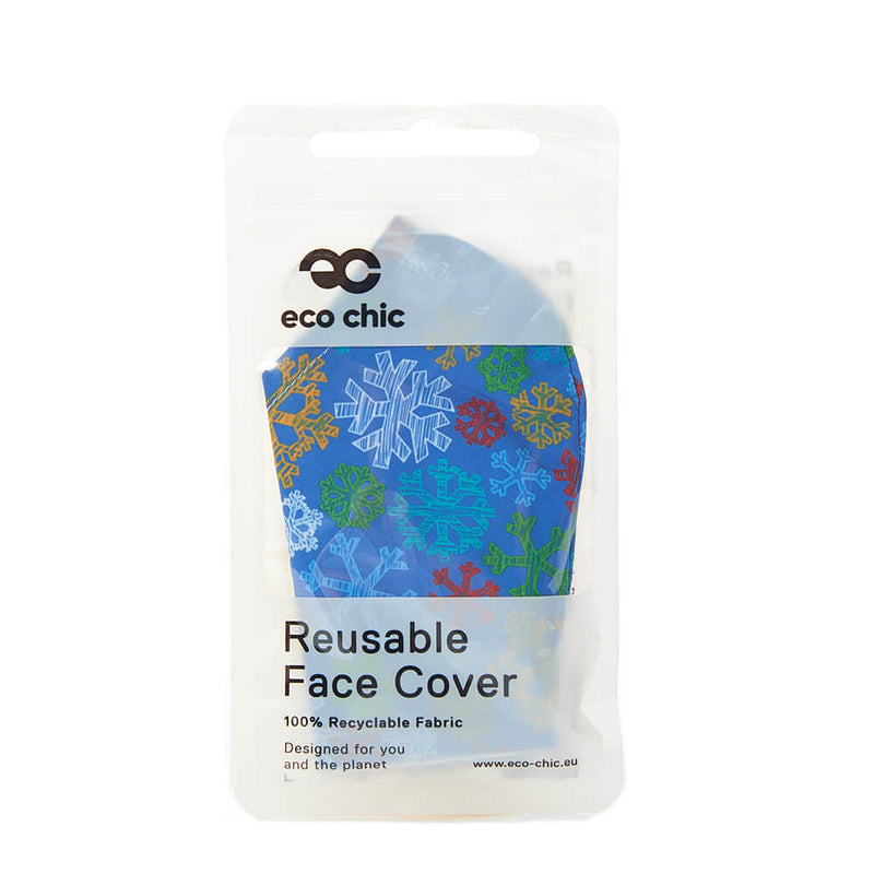Blue Sketchy Snowflakes Face Cover - პირბადე